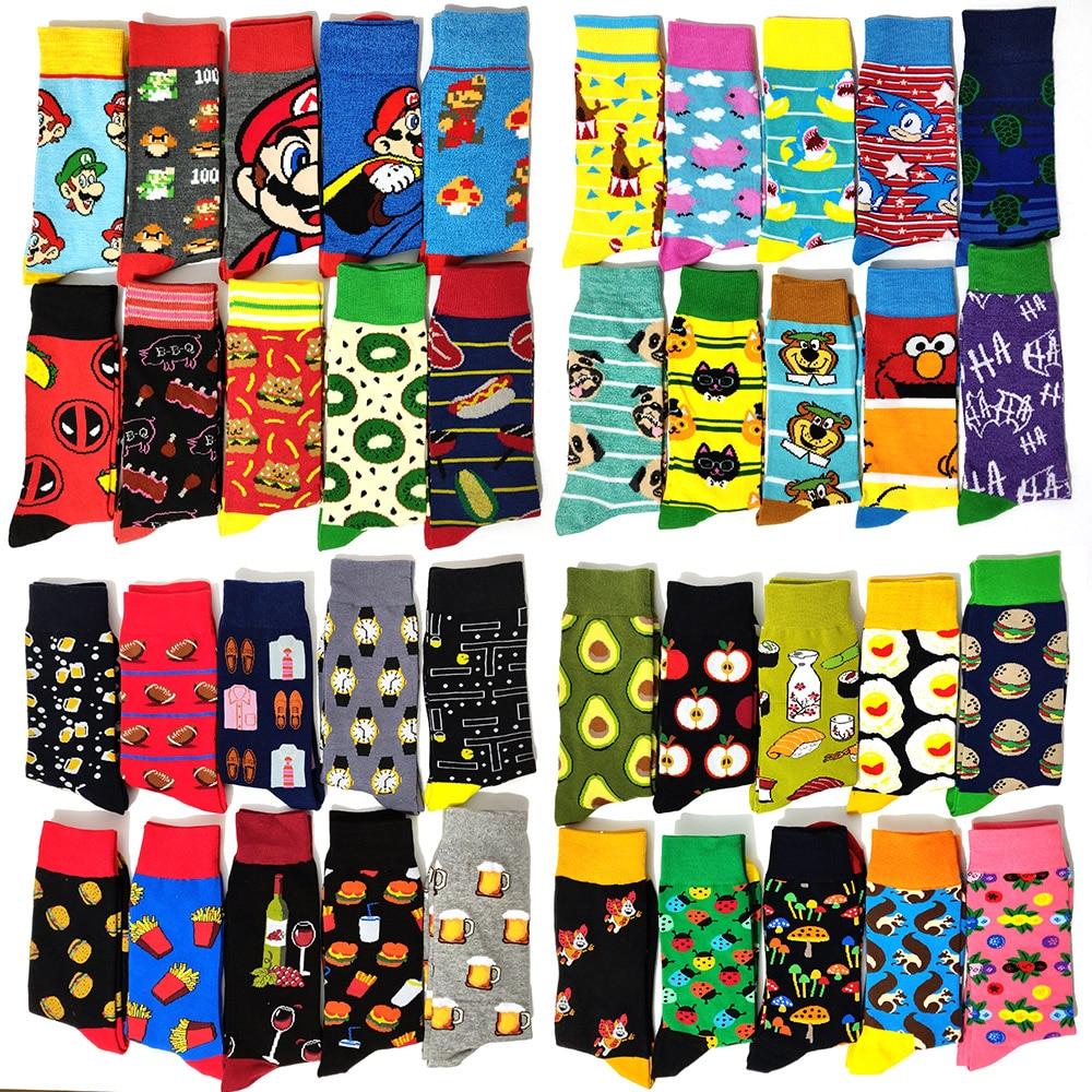 5 Pairs/Pack Funny Novelty Men Cotton Socks Cartoon Rabbit Casual Hip Hop Creative Soft Comfortable Calcetines Hombre Divertido