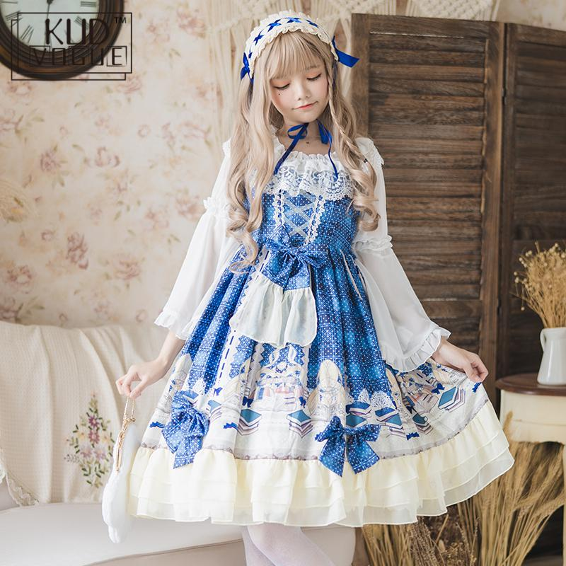 Blue Lolita Dress Women Sweet Japanese Chiffon Tea Party Ruffles Robe Gowns Print Flower Elegant Vintage Lace Cosplay Costume