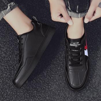 ¡Novedad de 2020! ¡oferta! Zapatillas de deporte para hombre, zapatillas para adolescentes blancas, zapatillas de diseñador informal de encaje de alta calidad de piel a la moda en color negro, gran oferta, tallas grandes 39-48