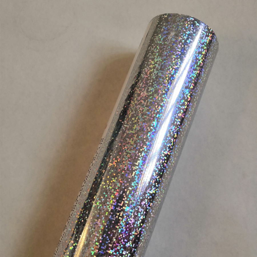 Hot Stamping Foil Holographic Foil Silver Color Little Square Point Pattern Hot Press On Paper Or Plastic 21cm X120m