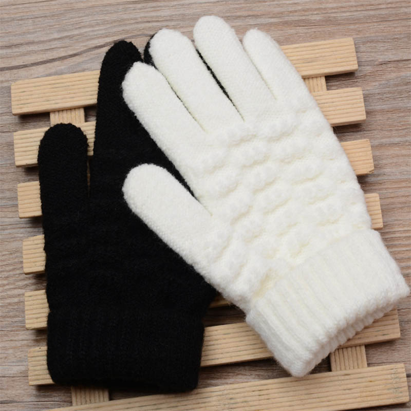 1 Pair  Windproof Keep Warm Knitted Gloves Full Finger Mittens   21*12CM Outdoor Travel Winter Gloves Unisex