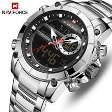 Moda NAVIFORCE erkekler lüks izle yeni tasarım su geçirmez izle erkekler için paslanmaz çelik kol saati Reloj Hombre kuvars erkek saat