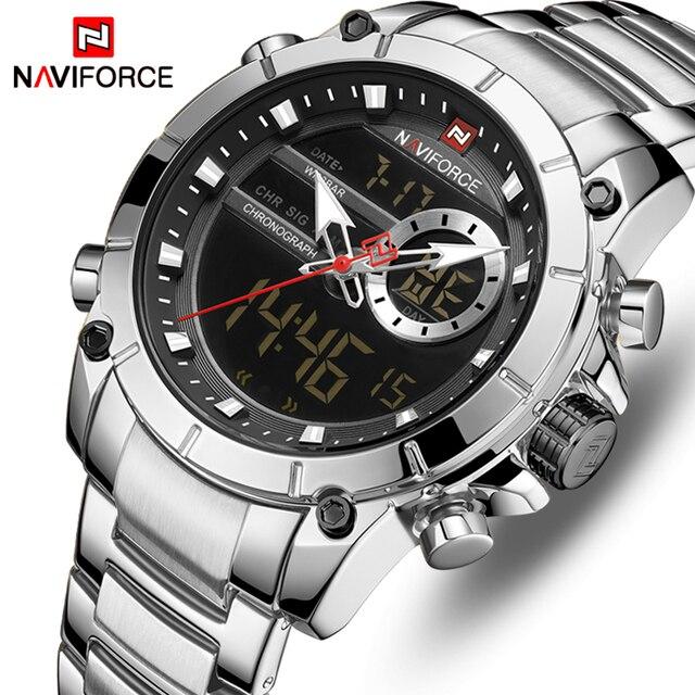 NAVIFORCE Reloj de lujo para Hombre, resistente al agua, de acero inoxidable, de cuarzo