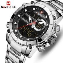NAVIFORCE montre de luxe pour hommes, nouveau Design, montre bracelet étanche, en acier inoxydable, horloge à Quartz pour hommes, à la mode