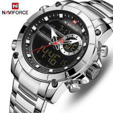 אופנה NAVIFORCE גברים יוקרה שעון חדש עיצוב עמיד למים לגברים נירוסטה שעוני יד Reloj Hombre קוורץ זכר שעון