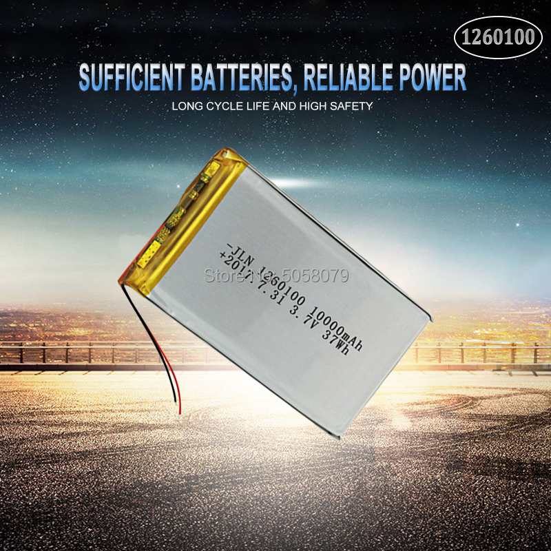 1pcs <font><b>3.7V</b></font> <font><b>10000mAh</b></font> Lipo <font><b>Battery</b></font> 1260100 Rechargeable Tablet Dvd Backup li-ion Li-Po Lithium Li-polymer Replacement <font><b>Battery</b></font> image