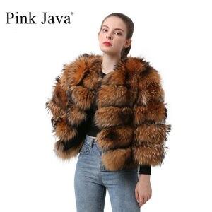 Image 1 - Розовый Java QC19102 Новое поступление Лидер продаж женские пальто с мехом из натурального меха енота меховая куртка толстые пальто с мехом короткое пальто мода