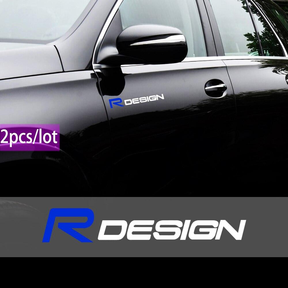 2 pçs rdesign logotipo impermeável pvc decalque adesivos caso para volvo r design xc90 s60 cx60 s80 v40 s40 xc70 v60 xc40 v90