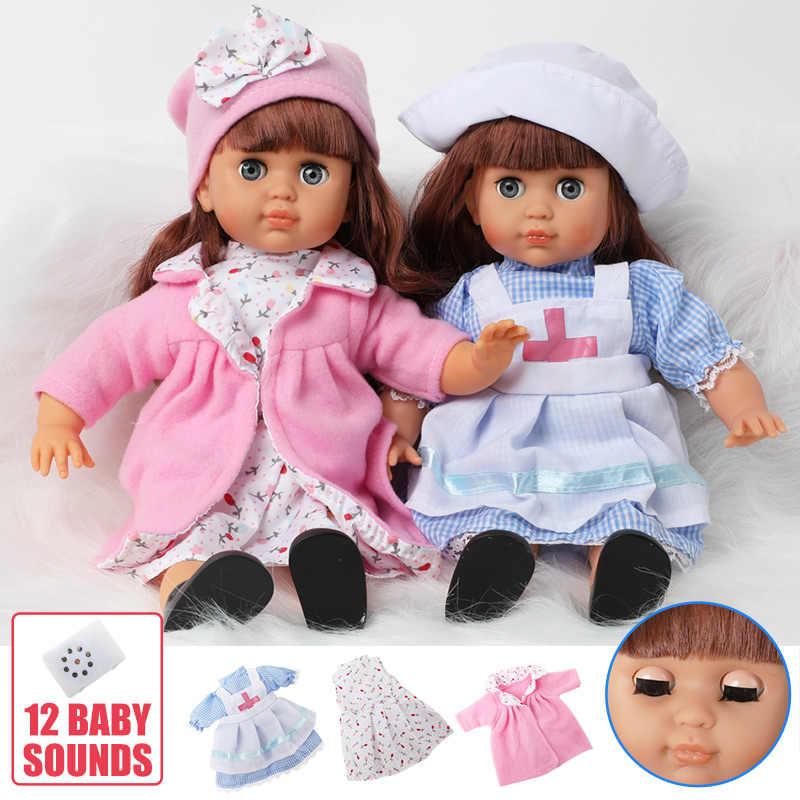 14 Inch Bebe Reborn Pop Geluid Kinderen Speelgoed 36 Cm Simulatie Zachte Siliconen Levensechte Mode Jurk Baby Pop Cadeaus Voor speelgoed Meisjes