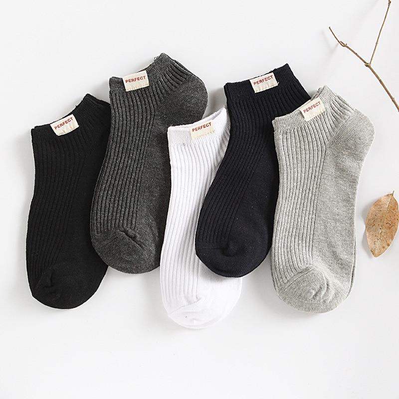 Solid Cotton Men Ankle Socks Summer Fashion Breathable High Quality Male Boat Socks No Show Short Business White Black Socks