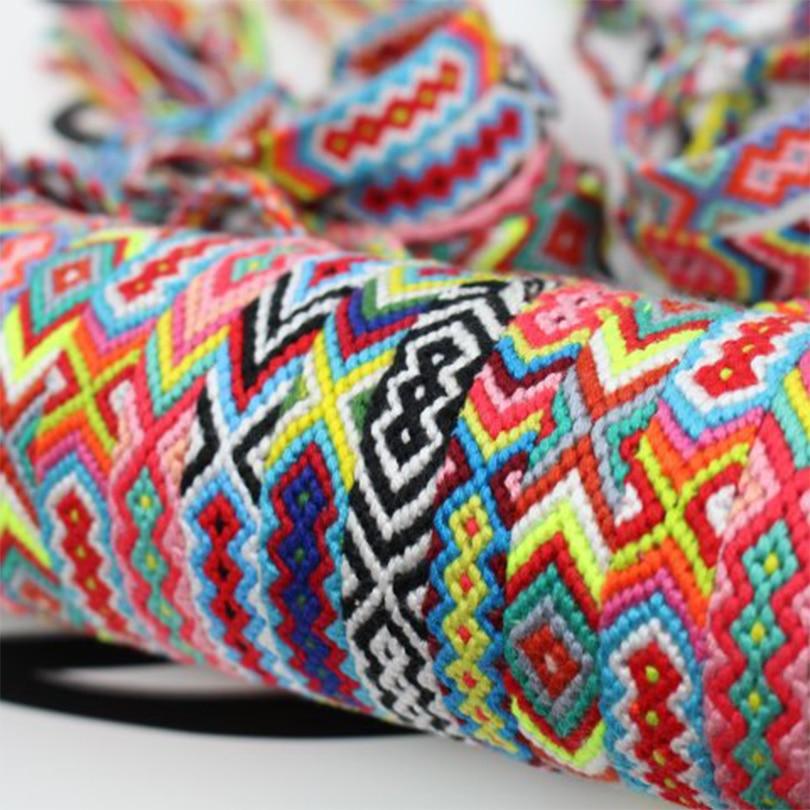 IYOE богемный Плетеный веревочный браслет ручной работы для женщин и мужчин Радужный плетеный браслет с кисточками очаровательные браслеты этнические ювелирные изделия