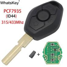 WhatsKey Car Remote Key Keyless Entry EWS System For BMW E46 E38 E39 E90 X5 Z3 Z4 1/3/5/7 Series 315/433MHz ID44 Chip HU58 blade jingyuqin hu58 4 buttons remote key case for bmw e38 e39 e46 ews system ask 433mhz 315mhz with pcf7935aa id44 chip uncut blade