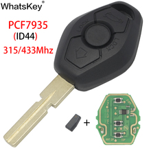 WhatsKey For BMW E38 E39 E90 E46 X3 X5 EWS System Keyless Entry Car Remote Key 315/433MHz ID44 PCF7935 Chip HU58/HU92 Blade jingyuqin hu58 4 buttons remote key case for bmw e38 e39 e46 ews system ask 433mhz 315mhz with pcf7935aa id44 chip uncut blade