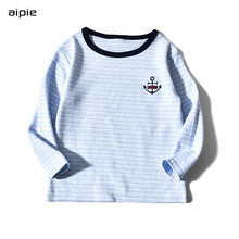 Promotion Kids T-shirts Anchor embroidery Striped Long sleeves Children boys t-shirts clothing cotton 100%