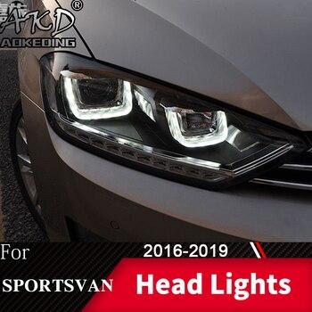 Head Lamp For Car VW Golf 7 Sportsvan 2016-2019 Golf7 Headlights Fog Lights Day Running Light DRL H7 LED Bi Xenon Bulb Accessory