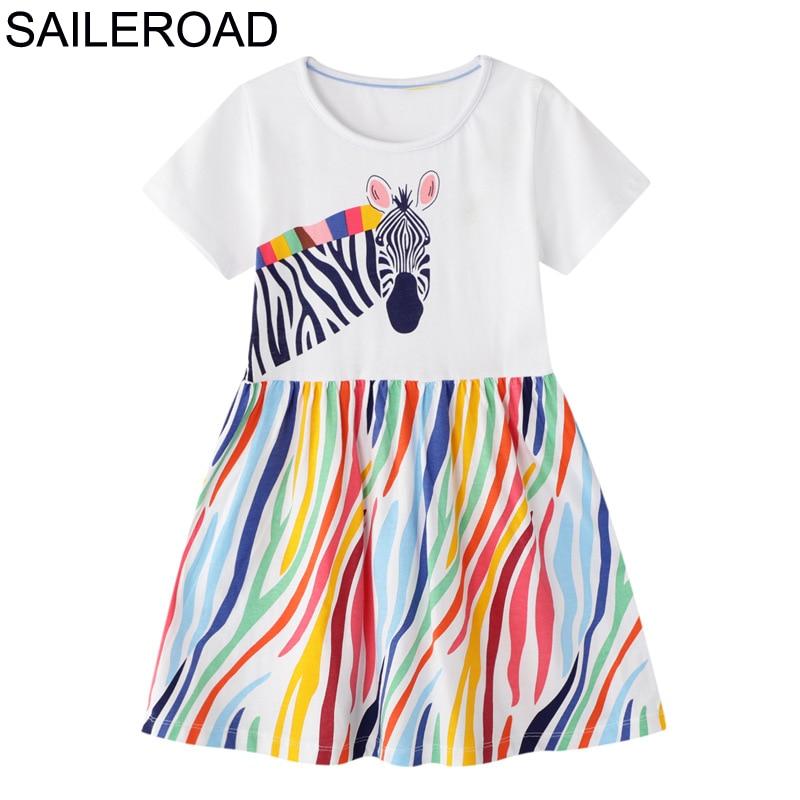 SAILEROAD Dress 2021 Summer Girls Tops Dresses Animal Baby Girls Clothes Dress Kids Cotton Zebra Print Short Sleeve Dress 1
