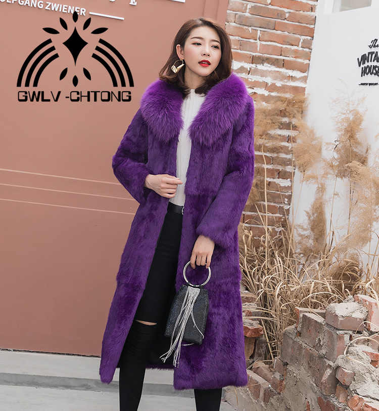 New genuine real natural  rabbit fur coat with fox fur collar women fashion long jacket   ladies warm  overcoat