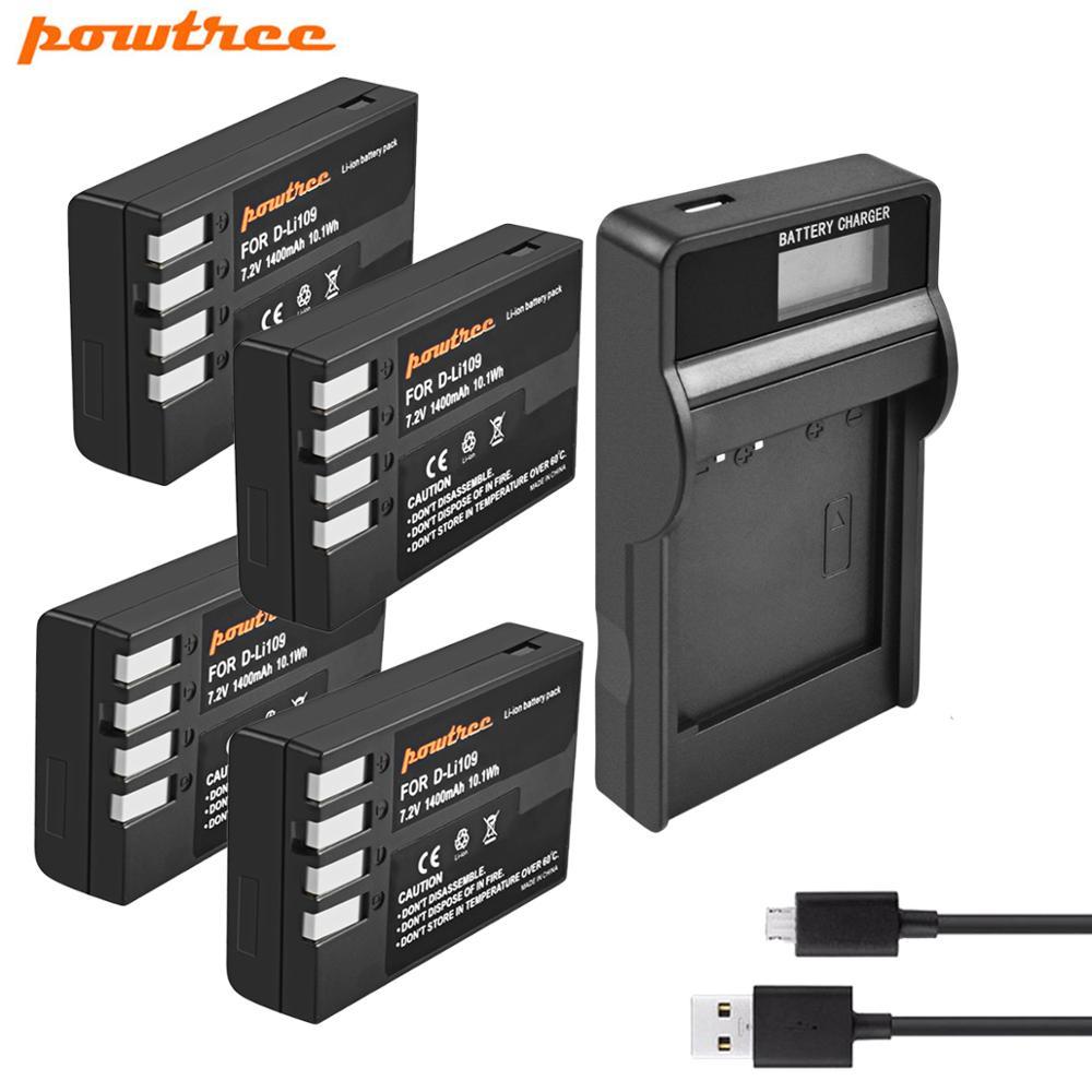 Аккумулятор Powtree для Pentax, 7,2 в, 1400 ма · ч, аккумулятор для DLi109, DLi 109 + жк-зарядное устройство для K30, K50, D-Li109, K500, KS1, KS2, KS2, 5, 5, 5, 5, 5, 5, 5, 5, 10, 10, 10, 10, 10, 10, ...
