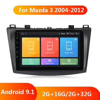 9 Car DVD GPS Android 9.1 Car Radio Stereo Autoradio 2G+32G Quad Core 2 din Car Multimedia Player For Mazda 3 Mazda3 2004-2012 image