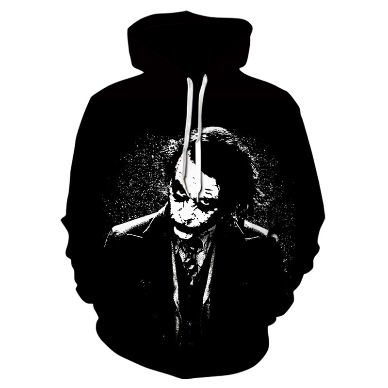 Joker Funny Hoodie Halloween Crazy Smile Pullover Long Sleeve Sweatshirt Fashion Stree Coats Cool Unisex Sportwear Mens Hoodies Joker Costume