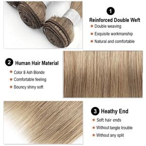 Image 4 - モーグル髪の色 8 灰ブロンドストレートバンドル閉鎖 16 24 インチ事前色ブラジル非レミーヘアエクステ