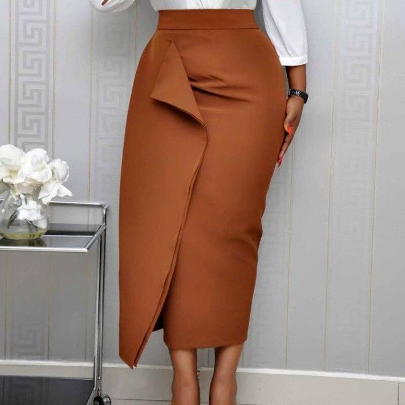 Women Bodycon Pencil Skirts High Waist Slim Midi Modest Classy Female Package Hip Jupes Falad Officewear Elegant Femme Fashion