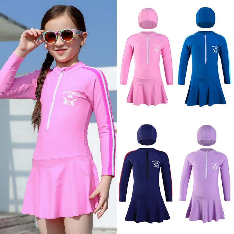 Children's Swimsuit Girls Swim Dress UPF50 Long Sleeves Swimming Suit for Kids Toddler Teenagers UV Bath Clothes Girl Beach Wear