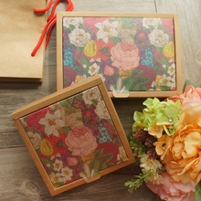 2 Size Kraft Paper 10pcs Flower Garden Retro Design Box Candy Cookie Handmade Candle Gift Packaging Wedding Christmas Use