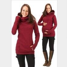 T-Shirt Pregnancy-Sweater Winter Maternity-Breastfeeding Hooded Long-Sleeved Velvet Loose