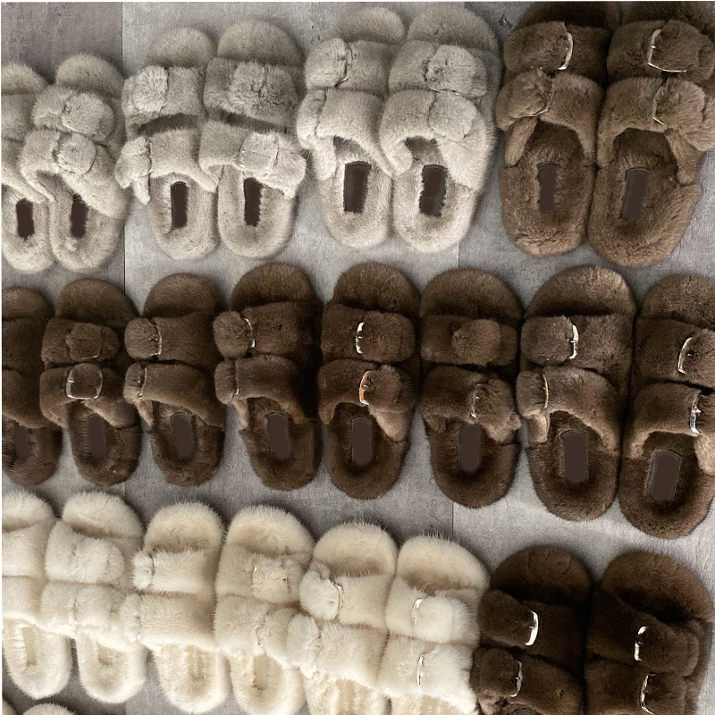 European Station Luxury Fashion Fur Slippers High Quality Mink Fur Slippers Ladies 100% Mink Fur Slippers Flat Heel Slippers