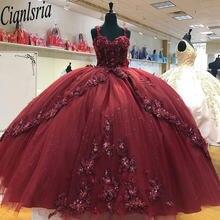 Блестящие Бальные платья burgendy sweet 16 расшитые бисером