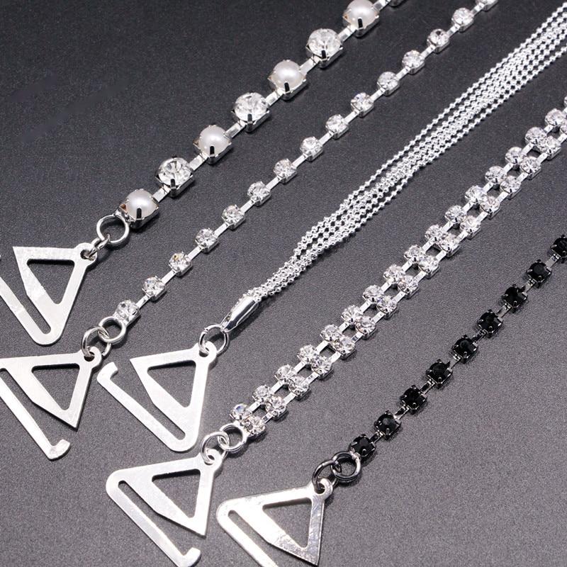 Hot New Silver Plated Metallic Sexy Rhinestone Bra Straps For Women Elegant Crystal Bra Shoulder Lingerie Accessories