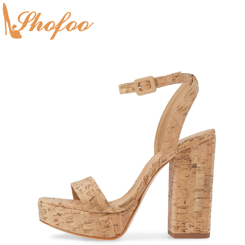 Cork Super High Chunky Heels Sandals Platform Women Ankle Strap Ladies Sexy Shoes Casual Mature Concise Large Size 14 16 Shofoo