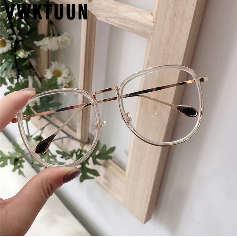VWKTUUN Transparent Eyeglasses Frames Vintage Optical Frames Vintage Woman Glasses Optical Frames Big Fake Glasses Eyewear image