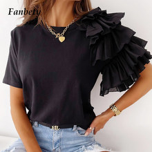 Elegant Chic One-Shoulder Layered Ruffle Shirts Summer Office Lady Casual Solid Blouses Women Fashion O Neck Short Sleeve Blusas