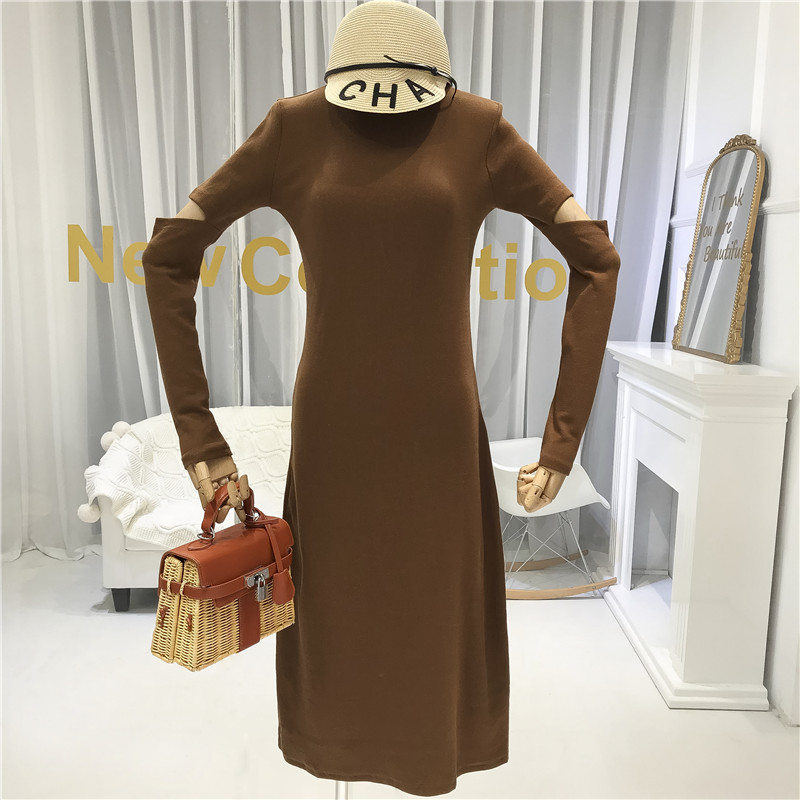 2019 Fall Hollow Out Sexy amp Club Slim Dress Women Mid Calf A Line Solid Woman European American Simple Long Dresses Green in Dresses from Women 39 s Clothing