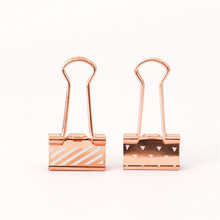 20pcs/set Fashion Rose Gold Dot Binder Clips Kawaii Stationery Metal Documents Photos Tickets Holder Notes Letter Paper Clamps