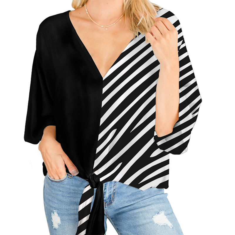 Summer Plus Size 5XL Print Leopard Women Blouse Batwing Sleeve Deep V-Neck Blouses Female 2020 Casual Loose Lace Up Ladies Tops