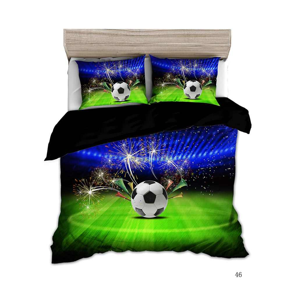 KTLRR 3D Printing 2/3Pcs Sport Series Soft Duvet Pillow Cover Football Basketball  Bedding Sets Bedclothes Boy Gift Textile