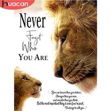 HUACAN – peinture de Lion en point de croix, broderie de diamant, images d'animaux carrées ou rondes, Kit d'art de mosaïque artisanale, décor de maison