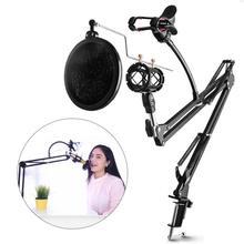 DYY микрофон ножничный кронштейн Стенд и настольный монтажный зажим и NW фильтр щиток для ветрового стекла и металлический монтажный комплект
