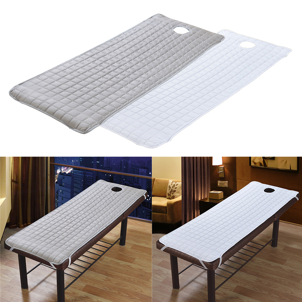2pcs SPA Massage Table Cover Bed Toweling Couches Mattresses With Face Hole 180x60cm White/ Grey