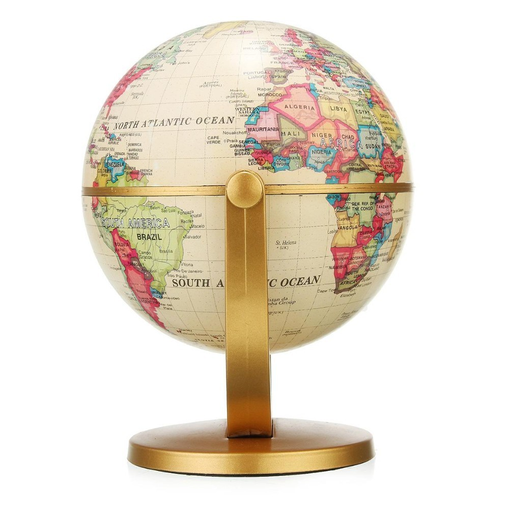 English Edition Globe World Map Decoration Earth Globe With Gold Base Vintage Pedestal Birthday Gift Room Home Office Decoration