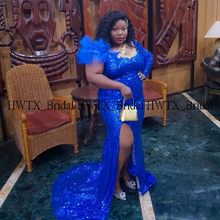 Longo mais tamanho sereia vestidos de baile 2020 um ombro sexy alta fenda azul real lantejoulas africano preto menina feminino gala baile de formatura festa