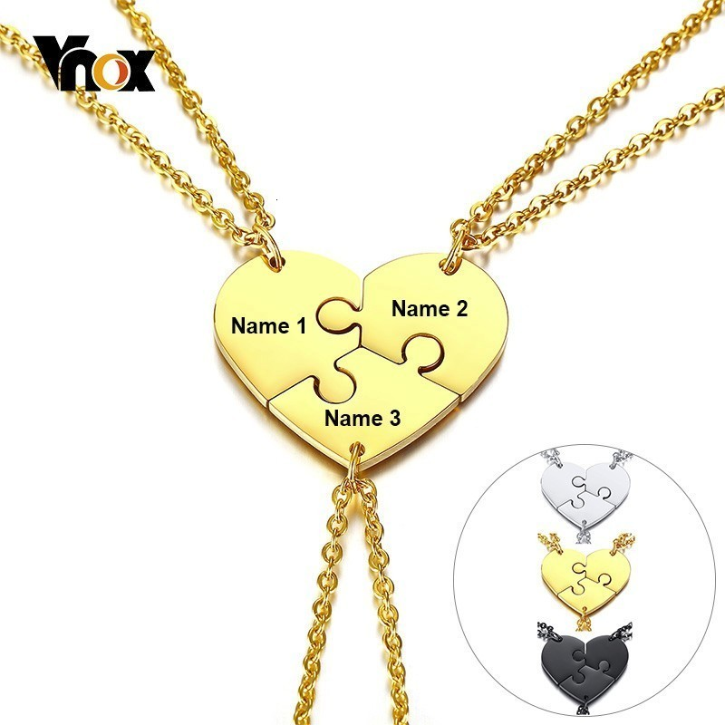 Vnox Set of <font><b>3</b></font> Stainless Steel Best <font><b>Friends</b></font> Forever <font><b>BFF</b></font> <font><b>Necklace</b></font> Puzzle Friendship Pendant Free Custom Name Women Men Gift image