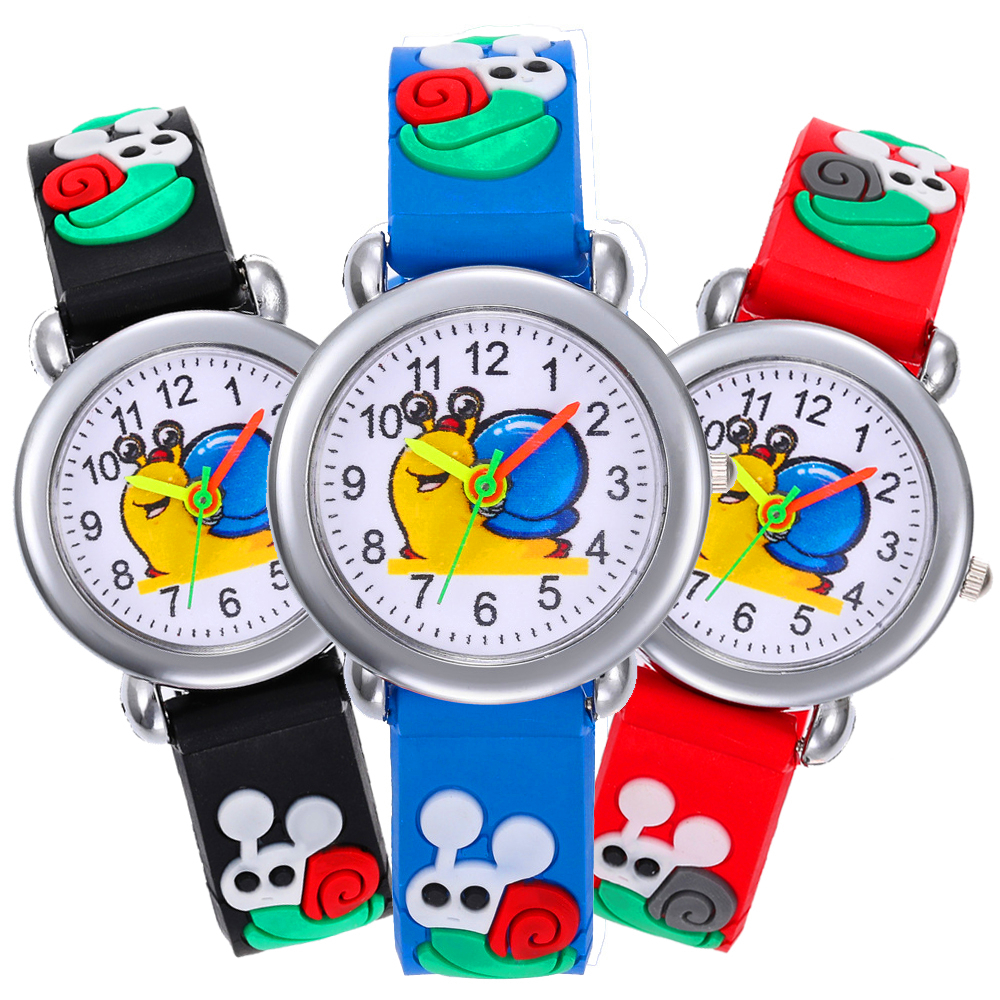 Red/Black/Blue/Pink/Purple Silicone Strap Boy Watch Children Cartoon Snail Watch Child Quartz Wristwatch Girl Kids Watches Clock