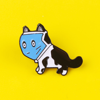 Cartoon Masked Cat Pins Badges for Clothes on T-Shirt  Backpack  Jackets Zinc Alloy Metal Cute Animals Lapel Pin Brooches Gift prajna halloween pins badges for clothes on backpack stripe pink purple pumpkin pin badge zinc alloy cartoon badges metal
