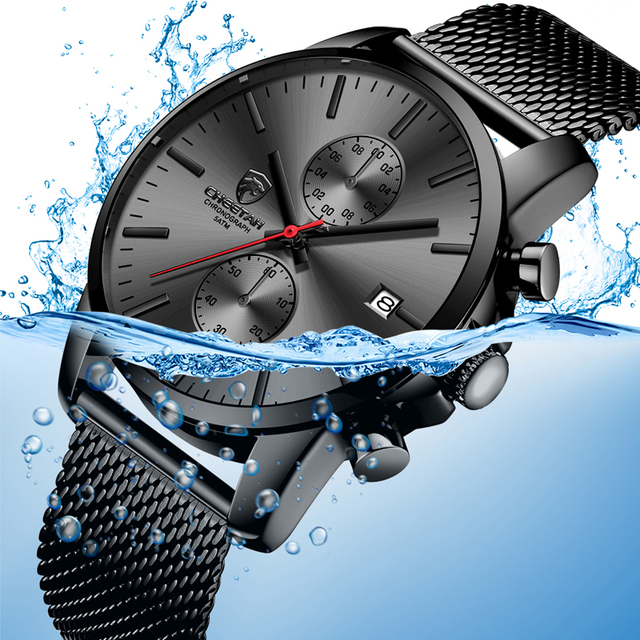 Top Luxury Brand Men Business Watches Chronograph Waterproof Quartz Analog Wristwatch Full Steel Male Clock Relogio Masculino