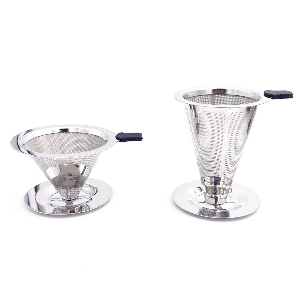 Многоразовый фильтр для кофе, держатель из нержавеющей стали, двойной слой, металлическая сетка, воронка, корзины для кофе, капельница, чай, ...