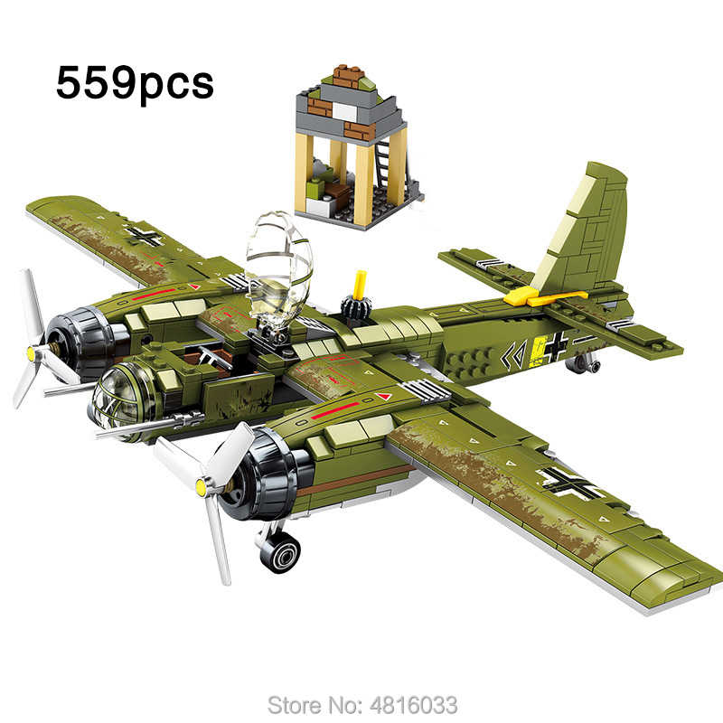 Army Ju-88 Bomber Fighter airforce legoinglys Military ww2 German Aircraft Minifigs Soldiers Figures Building Blocks Toys Gift